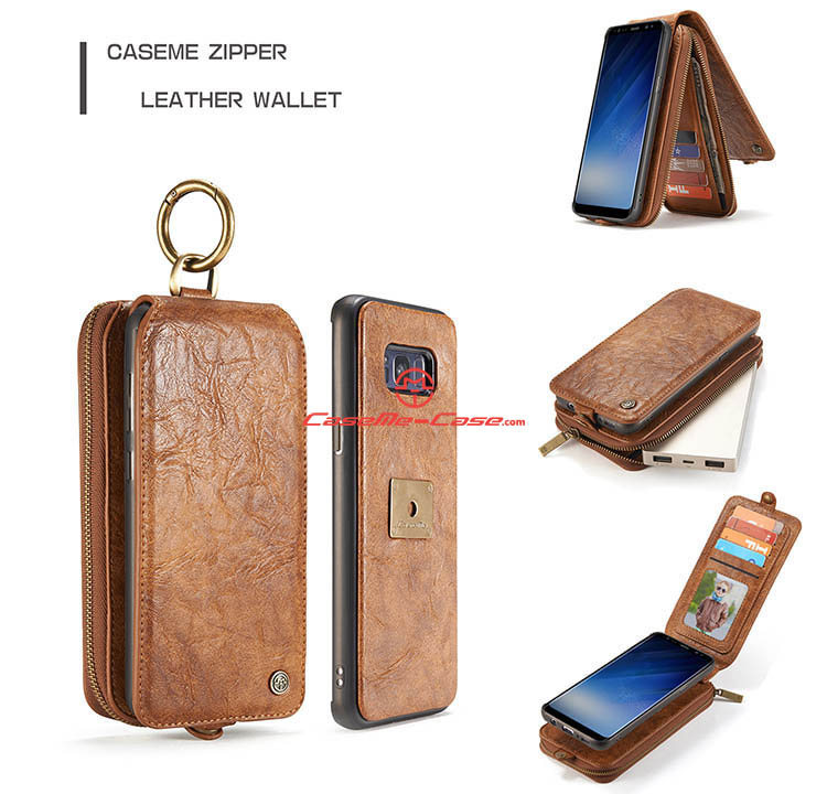 CaseMe Samsung Galaxy S8 Plus Zipper Wallet Magnetic Detachable Flip Leather Case
