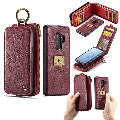 CaseMe Samsung Galaxy S9 Plus Zipper Wallet Metal Buckle Detachable Case Red