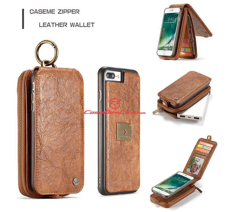 CaseMe iPhone 7 Plus Zipper Wallet Magnetic Detachable Flip Leather Case