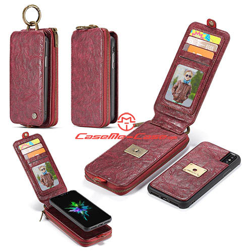 CaseMe iPhone X Metal Buckle Zipper Wallet Detachable Case Red