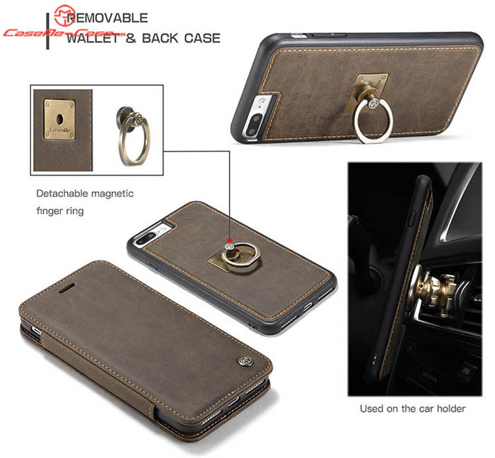 CaseMe iPhone 7 Plus Wallet Case Detachable Magnetic Finger Ring Back Cover