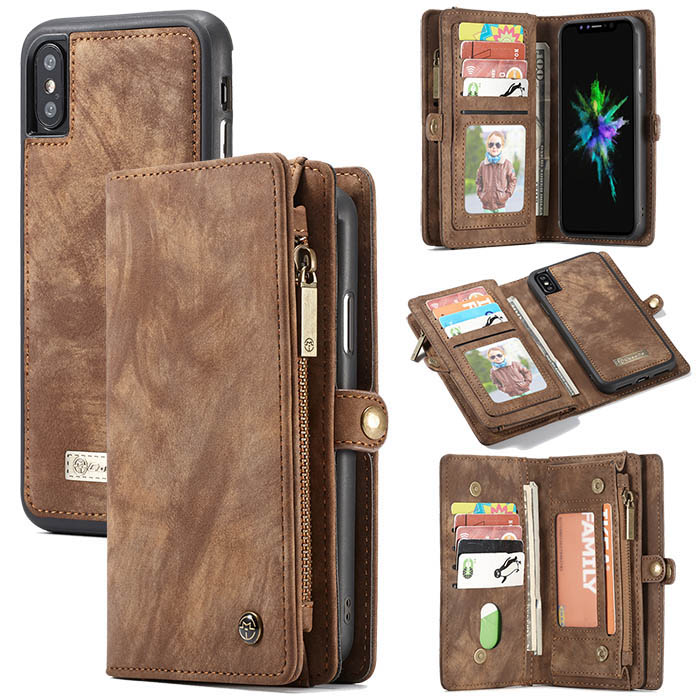CaseMe iPhone XS Detachable Wallet Magnetic 2 in 1 Case Brown