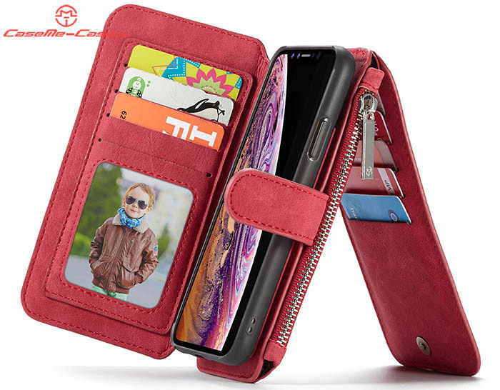 cf8fb0037 CaseMe iPhone Xs Max Zipper Wallet Magnetic Detachable 2 in 1 Folio Flip  Case
