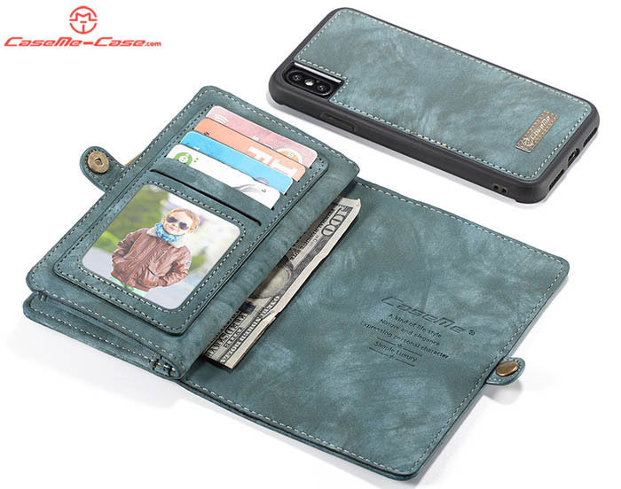 CaseMe iPhone XS Max Zipper Wallet Magnetic Detachable 2 in 1 Folio Case