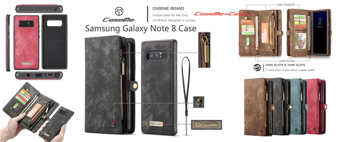 CaseMe Samsung Galaxy Note 8 Wallet Detachable Case