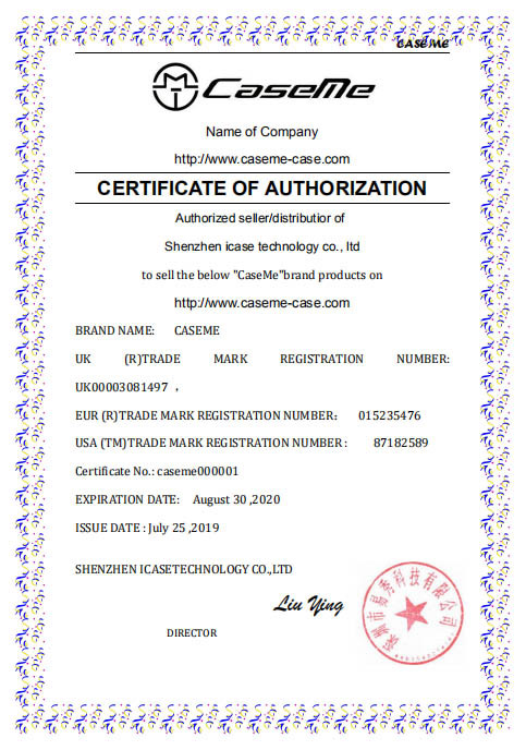 CaseMe-Case.com Official Certificate Of Authorization